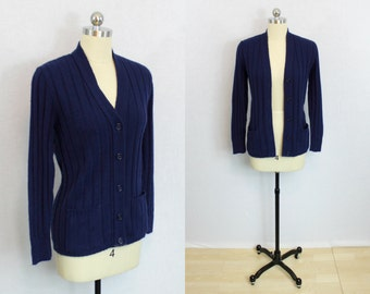 Vintage Navy ribbed cardigan