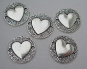 5PCS -  Heart in Circle Charms - Silver Toned - 25mm