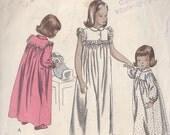 Vintage Sewing Pattern 1949 Girls' Sleepwear Full Gathered Nightgown 6 Years Size