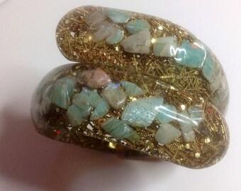 Vintage Confetti Glitter Lucite Semi-Precious Pale Pink and Aqua Blue Stones Clamper Bangle New Old Stock Bracelet