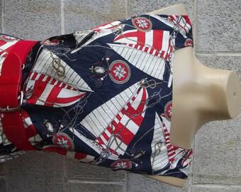 1980s Sleeveless Knee Length Dress, Nautical, Size Small,  #45678