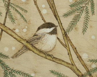 Winter Chickadee Giclee Print by Jason Gianfriddo - patiently awaiting spring on budding branches, black-capped chickadee songbird