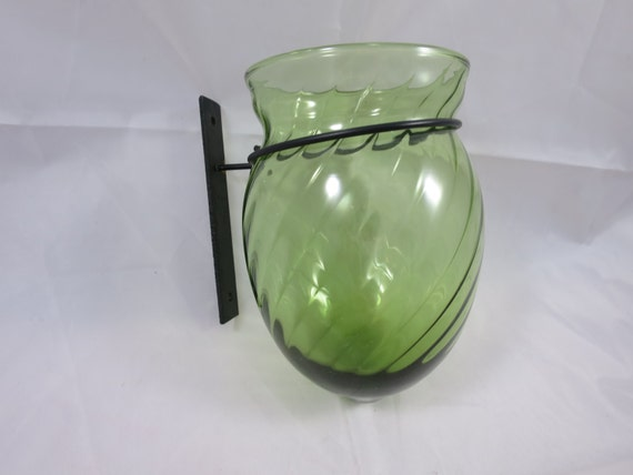 Wall Vase Green Swirl Glass Metal Mount Large For Bouquet