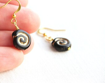 Summer Party Cute Little Black Earrings Gold Earrings Spiral Earrings Artisan Glass Earrings Simple Greek Geometric Earrings Gift for woman