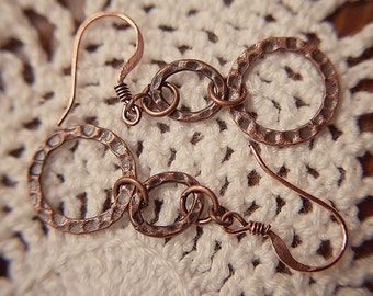Handmade Copper Earrings Antiqued Copper Dangle Hammered Oval Earrings Hammered Round Earrings Antiqued Copper Earrings