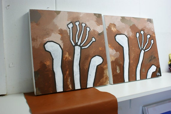 Two modern decorative flower paintings in walnut colours on canvasboard