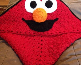 Mr Silly blanket with hood, crochet blanket, granny square, custom made blanket, red and black blanket