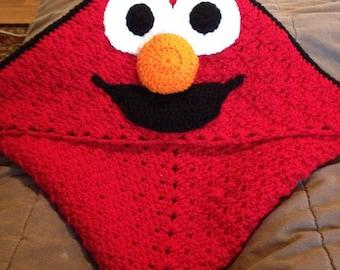 Mr Silly blanket with hood, crochet blanket, granny square, custom made blanket, red and black blanket