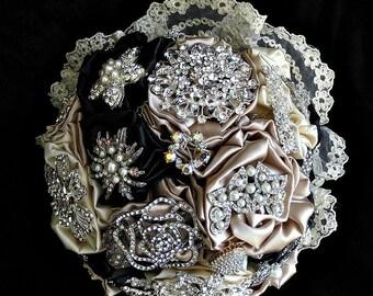 Navy & Champagne  brooch bridal  wedding bouquet in  broochbouquet,  bridal wedding brooch bouquet