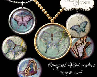 Digital Collage Sheet Printable Download Images 1.5 inch n 1 inch round E14-05I Jewelry Gift Tags watercolor vintage Scrapbook pocket mirror