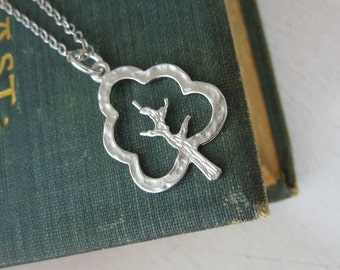 Tree Necklace - Small Silver Tree Charm Necklace Silver Chain