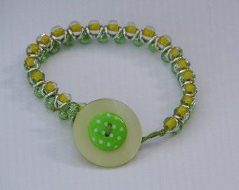 Lemon Lime Stackable Bracelet - lemon lime beaded button fastening bracelet stackable