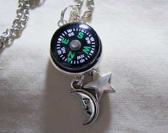 Cosmic Compass Pendant with Moon and Star
