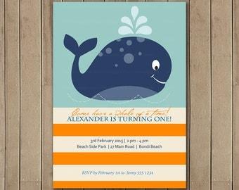 Whale First Birthday Invitation, Printable, DIY, Whale party, 1st Birthday, 2nd Birthday