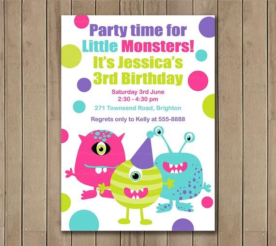 Monster Invitation, Pink and Purple Monster DIY Invitation, Birthday Invite,  Printable Digital JPG  DIY