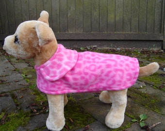 Pink and Hot Pink Leopard Fleece Dog Coat- Small- 8 to 10 Inch Back Length