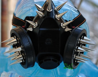 Black Cyber Mask Cyber Goth Respirator Gas Mask 28 Spikes