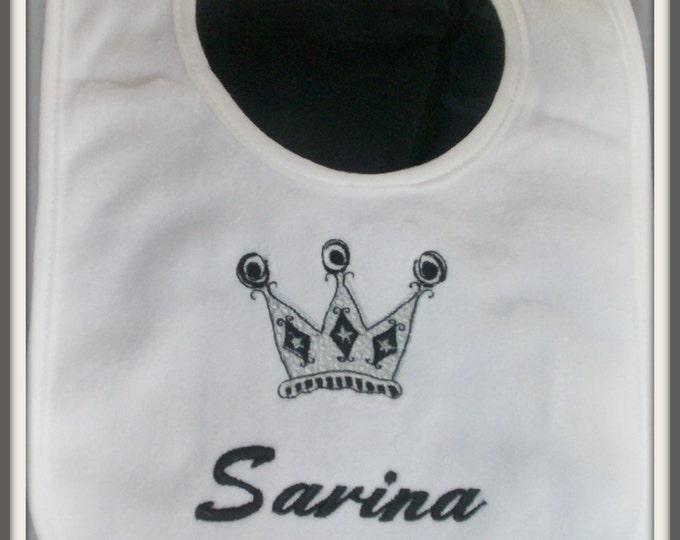 Princess Crown baby bib personalized - Crown bib - Princess bib - Personalized bib - Embroider bib - Crown baby bib - Shower gift - Monogram
