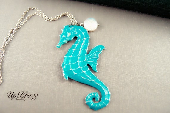 Seahorse--- Large aged silver brass hand patina pearl fantasy necklace-ocean theme