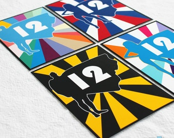 Superhero Table Numbers PDF you print from home.
