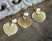 10% OFF,Set of 5,Real Aspen leaf,Gold or Silver,Fall Autumn Wedding Jewelry,Personalized necklace,Heart,