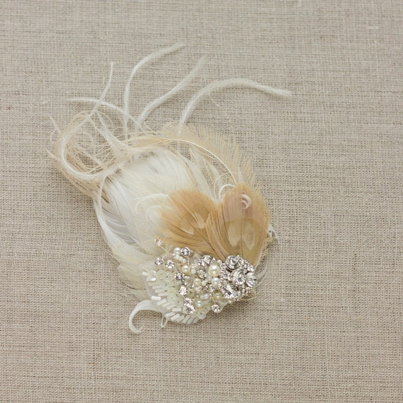 Wedding feather hairpiece headpiec, Rustic vintage inspired fascinator, bridal hair accessory, champagne nude latte feather rhinestone