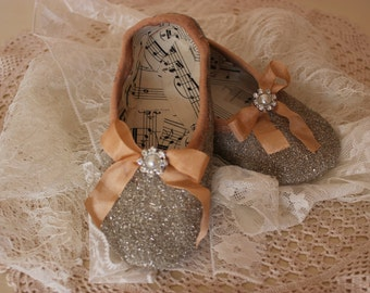 Ballet Shoes ~ vintage style decorative ballet shoes with vintage sheet music and glass glitter
