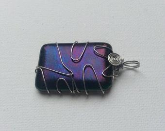 Square Glass Pendant, Wire Wrapped Pendant, Glass Wire Wrapped Pendant, Blue and Purple Wire Wrapped Pendant, Modern Glass Pendant