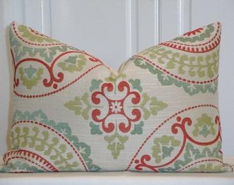 Decorative Pillow Cover - Suzani - Red - Green - Aqua - Chair Pillow - Cushion Cover