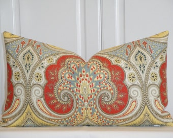 KRAVET - Decorative Pillow Cover - Persimmon - Yellow - Blue Gray - Taupe -  Paisley - Ikat