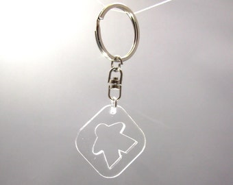 Meeple Silhouette Keychain, Transparent Acrylic