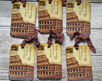 Vintage Style Handmade Tags Rome Colosseum for Gifts, Journaling or Travel