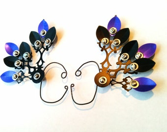 Malficence Steam Drake Clockwork Wings- Over The Ear Cuff Set Steampunk Accessory