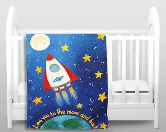 Kids Fleece Blanket - Love You To The Moon Rocket - Kids Bedding - Baby Blanket - Nursery Decor