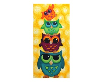 Owl Painting, Look Whooo's On Top,  Original Owl Art, Owl Decor, Art for Kids, Art for Office