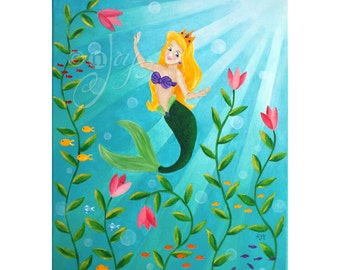 MERMAID PRINCESS, Wall art for Children, 16x20 PRINT, Art for Girls Room