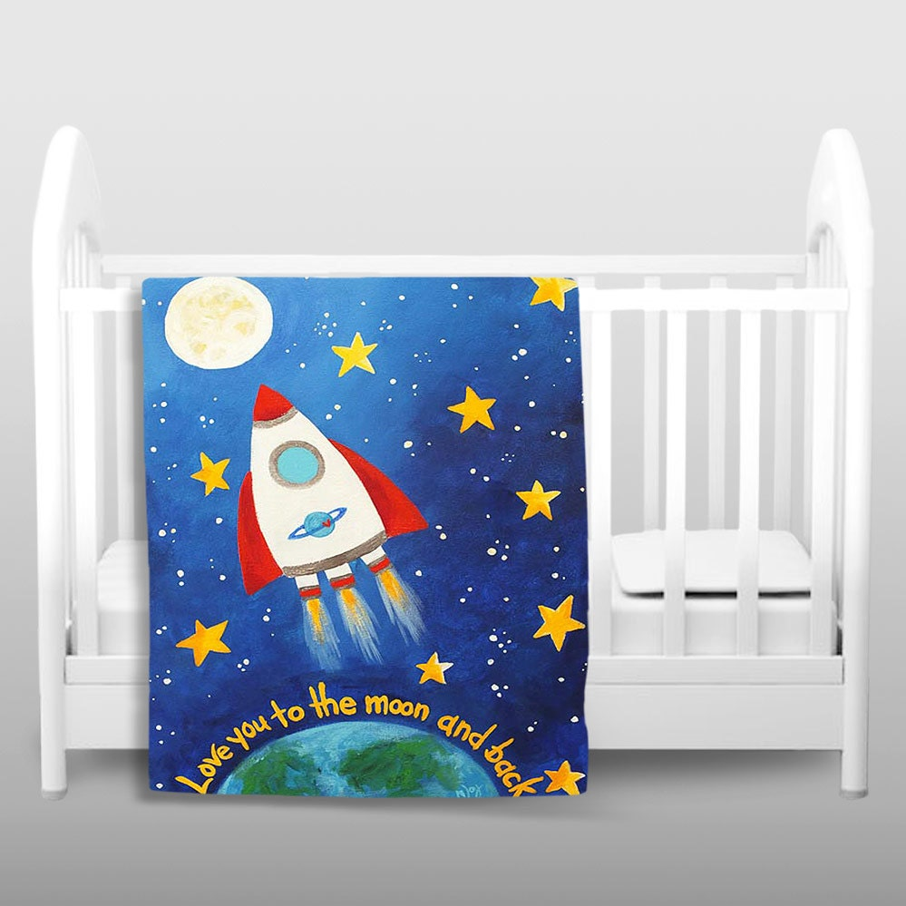 Kids fleece blanket love you to the moon rocket kids by for Childrens rocket bed