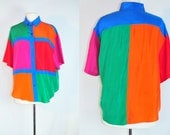 RESERVED FOR DESTINEE vintage 90s colorblock silk slouchy button up shirt