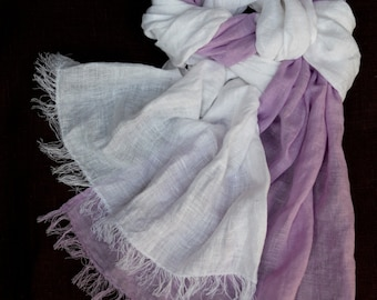 White lilac linen scarf washed wrinkled organic gauzy linen women's shawl for all seasons gift for grandmother