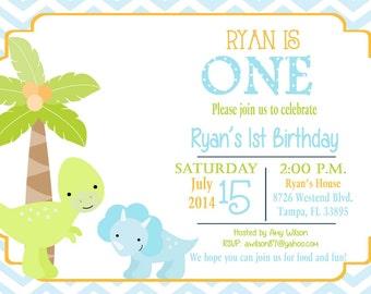 Printed Dinosaur birthday party Invitation, dinosaurs, baby boy birthday, dinosaur birthday party