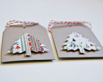 Christmas tags Christmas tree gift tags Patterned tree Christmas tags