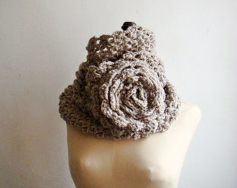 CROCHET PATTERN Cowl, Crochet Infinity Loop Scarf Pattern, PDF Tutorial, Large Flower Crochet Pattern