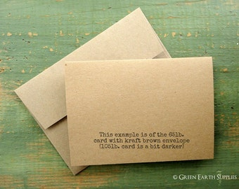 """A1 Kraft or Light Brown Cards & Envelopes, Folded Cards, Blank Note Cards/Envelopes, Recycled, 3 1/2""""x4 7/8"""" (89x124mm) or 3.5x5"""", Set of 50"""