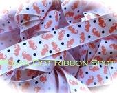 Seahorse Ribbon 5 yards- 7/8 inch Coral and Navy printed nautical grosgrain hair bow craft ribbon