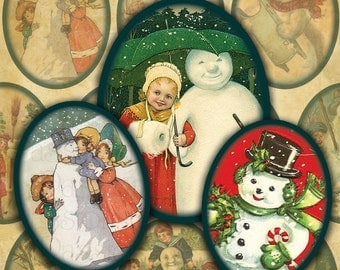 Victorian Snowmen 30mm x 40mm  Ovals Digital Collage Sheet Christmas Ovals-- Instant Download