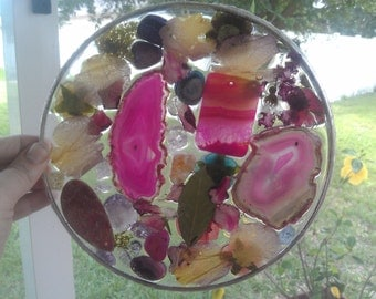 Breathtaking stained glass, epoxy resin, sun catcher, crystal, quartz, natural,dragonfly, purple, geode, druzy, pressed flowers.  windchime.