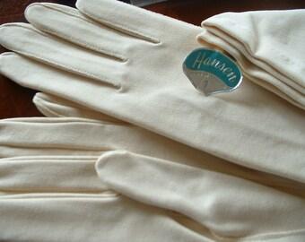 Exquisite Vintage HANSEN Long Ladies Light Beige Gloves Mid Century Classics Sizer 8 ORIGNAL Package & Labeling