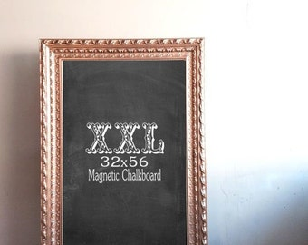 "EXTRA LARGE CHALKBOARD for sale 32""x56"" Wedding Seating Chart Framed Magnetic Chalkboard Huge Gold Chalk Board Home Office - MoRE CoLORS"