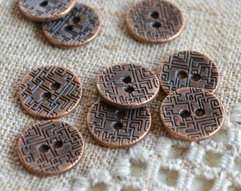 20 Buttons Antiqued Copper Lead Free Pewter Button Findings 15mm