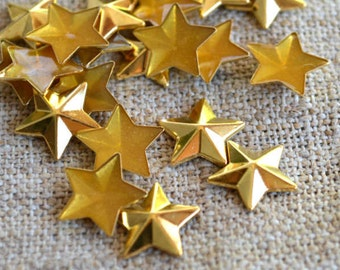 50pcs Flat Back Gold Finished Brass Hot-Fix Rhinestud 8x8 Star